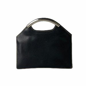 Desmo Made In Italy Black Leather Clutch Purse